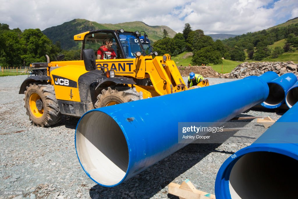 A lorry delivering hydro pipes for the Rydal Hall Hydro electric scheme, Ambleside, UK.