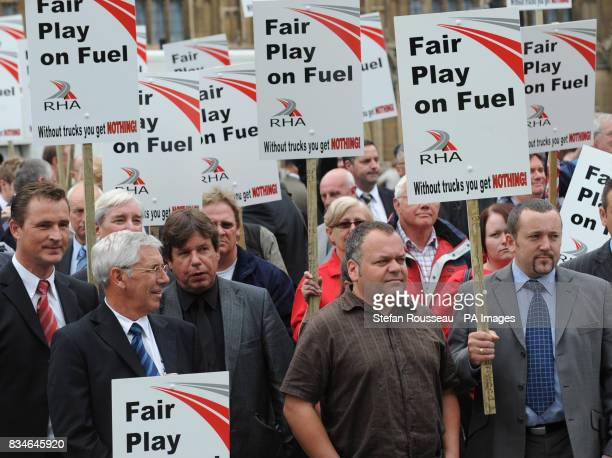 Lorry drivers and hauliers demonstrate in Westminster today at high fuel prices