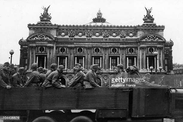 A lorry full of German soldiers on the Place de l'Opera Paris