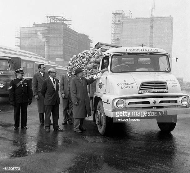 Lorry in front of the new Spillers Animal Food mill Gainsborough Lincolnshire 1960 A Thames Trader lorry from Teesdale's in Louth stands in front of...