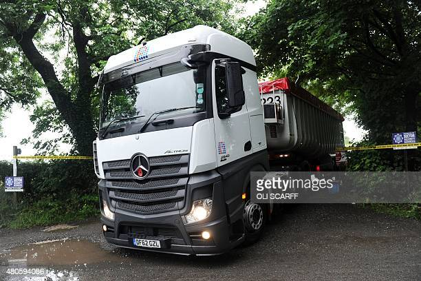 A lorry leaves Field Foot Farm where an outbreak of H7N7 avian flu was detected in the village of Goosnargh near Preston north west England on July...