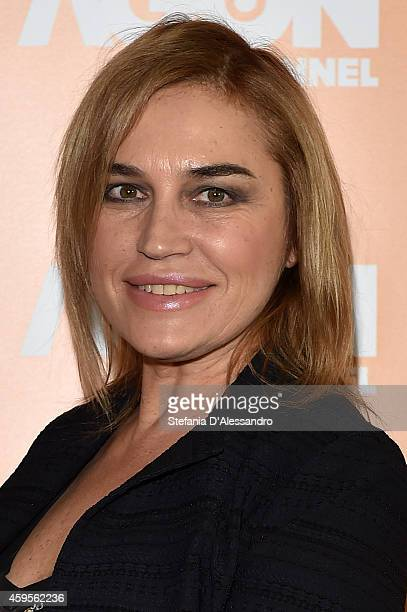 Lory Del Santo attends photocall for the presentation of the new Italian digital channel Agon Channel at Terrazza Martini on November 25 2014 in...