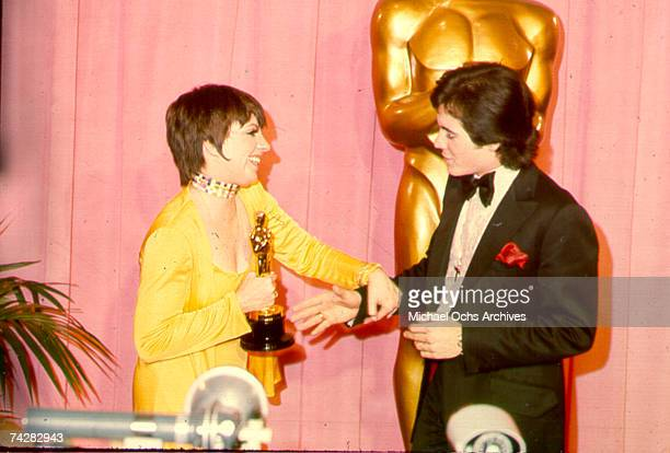 Liza Minnelli and Desi Arnaz Jr at the 45th Academy Awards Liza is collecting a Best Actress award for her role in 'Cabaret'