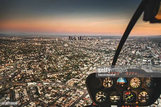 Los Angeles aerial view skyline from the helicopter
