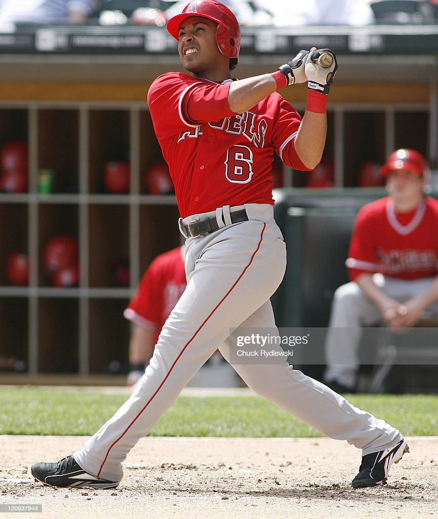 Los Angeles Angels' 2nd Baseman, <a gi-track='captionPersonalityLinkClicked' href=/galleries/search?phrase=Maicer+Izturis&family=editorial&specificpeople=239100 ng-click='$event.stopPropagation()'>Maicer Izturis</a> watches the flight of his 4th inning home run during their game versus the Chicago White Sox April 29, 2007 at U.S. Cellular Field in Chicago, Illinois. The Angels would defeat the White Sox 5-2.