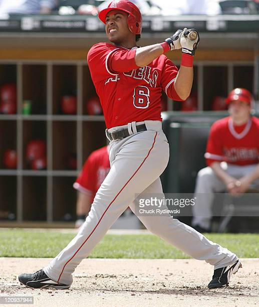 Los Angeles Angels' 2nd Baseman Maicer Izturis watches the flight of his 4th inning home run during their game versus the Chicago White Sox April 29...