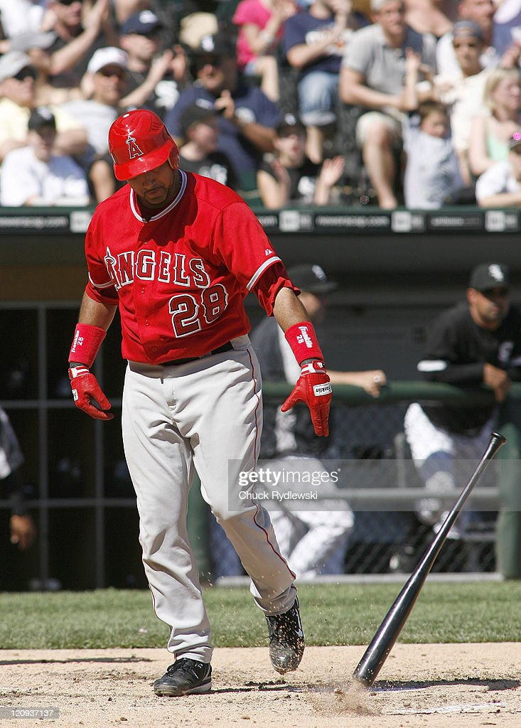 Los Angeles Angels' Catcher, Jose Molina angrily throws his bat after striking out during their game versus the Chicago White Sox April 29, 2007 at U.S. Cellular Field in Chicago, Illinois. The Angels would defeat the White Sox 5-2.