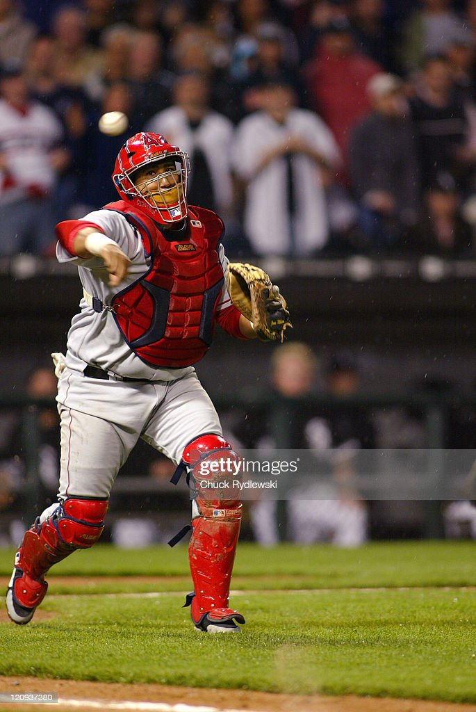 Los Angeles Angels' Catcher, <a gi-track='captionPersonalityLinkClicked' href=/galleries/search?phrase=Jose+Molina&family=editorial&specificpeople=206365 ng-click='$event.stopPropagation()'>Jose Molina</a>, throws out the hitter during their game against the Chicago White Sox May 10, 2006 at U.S. Cellular Field in Chicago, Illinois. The Angels would defeat the White Sox 12-5.