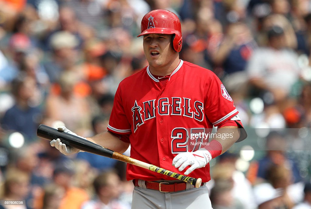 Los Angeles Angels center fielder Mike Trout at bat during the first inning of a baseball game against the Detroit Tigers in Detroit Michigan USA on...