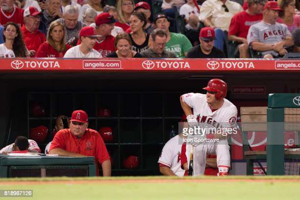 Los Angeles Angels center fielder Mike Trout waits in the dugout during the game between the Washington Nationals and the Los Angeles Angels on July...