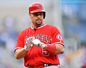 Los Angeles Angels designated hitter Albert Pujols celebrates his tworun single in the first inning against the Kansas City Royals on Monday July 25...