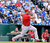 Los Angeles Angels designated hitter Albert Pujols follows through on a tworun single in the first inning off Kansas City Royals starting pitcher Ian...