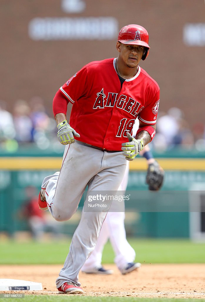 Los Angeles Angels first baseman Jefry Marte rounds the bases after his tworun home run in the fifth inning of a baseball game against the Detroit...