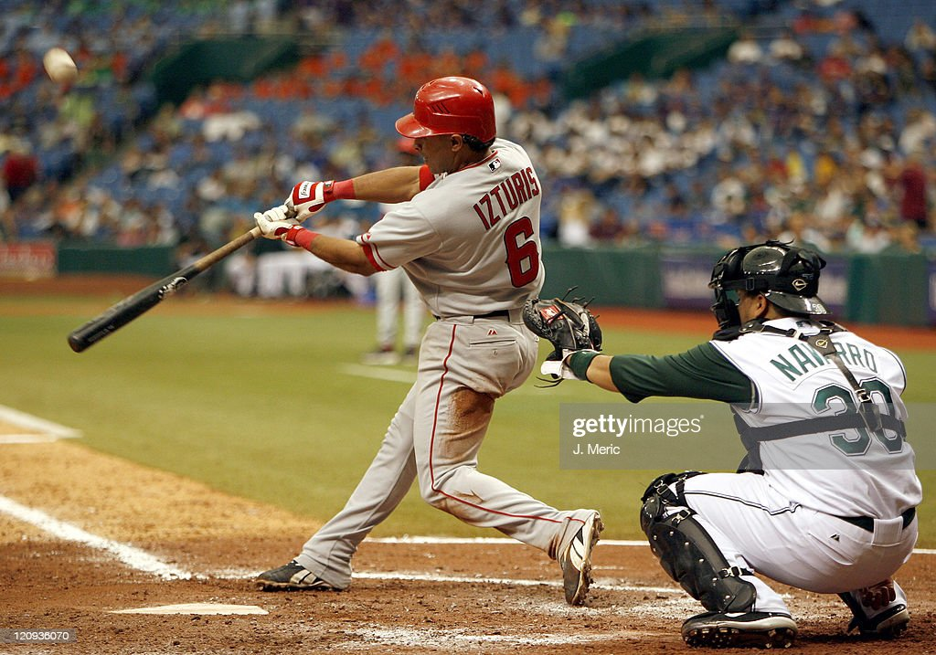 Los Angeles Angels infielder <a gi-track='captionPersonalityLinkClicked' href=/galleries/search?phrase=Maicer+Izturis&family=editorial&specificpeople=239100 ng-click='$event.stopPropagation()'>Maicer Izturis</a> connects on this pitch during Wednesday's game against Tampa Bay at Tropicana Field in St. Petersburg, Florida on July 26, 2006.