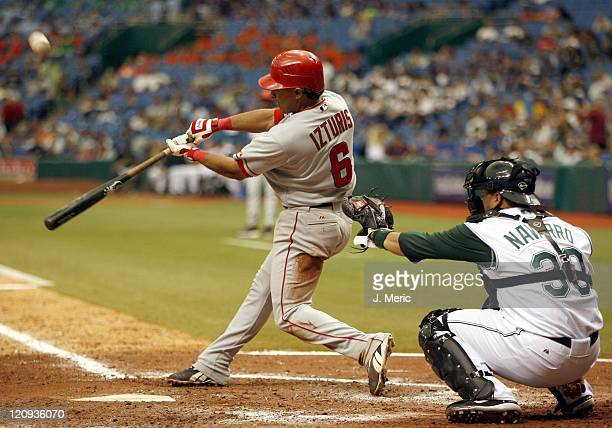 Los Angeles Angels infielder Maicer Izturis connects on this pitch during Wednesday's game against Tampa Bay at Tropicana Field in St Petersburg...