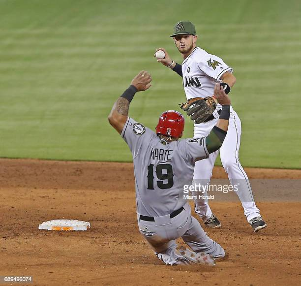 Los Angeles Angels' Jefry Marte slides into a double play at second base as the Miami Marlins' JT Riddle turns two in the sixth inning on Sunday May...