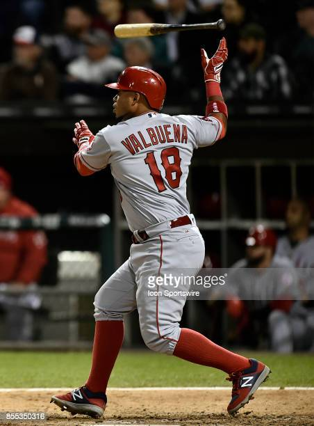 Los Angeles Angels' Luis Valbuena tosses bat after hitting a single during the game between the Los Angeles Angels and the Chicago White Sox on...