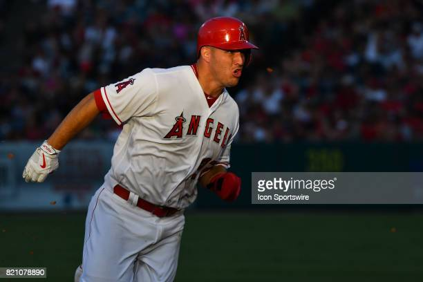 Los Angeles Angels of Anaheim Center field Mike Trout heads towards third during an MLB game between the Boston Red Sox and the Los Angeles Angels of...