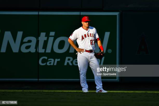 Los Angeles Angels of Anaheim Center field Mike Trout looks on from the shadows during an MLB game between the Boston Red Sox and the Los Angeles...