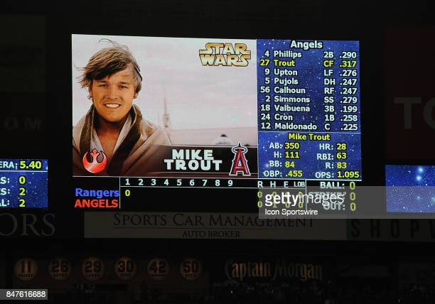 Los Angeles Angels of Anaheim center fielder Mike Trout appears on the Angels score board during his at bat as Luke Skywalker during Star Wars night...