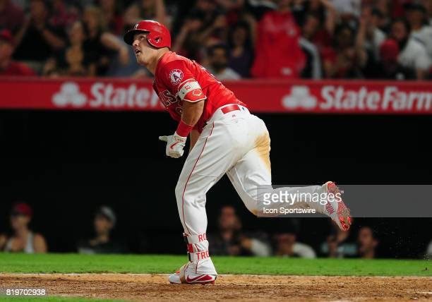 Los Angeles Angels of Anaheim center fielder Mike Trout hits a two run home run in the seventh inning of a game against the Washington Nationals on...