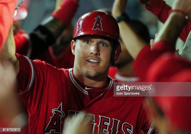 Los Angeles Angels of Anaheim center fielder Mike Trout in the dugout after hitting a two run home run in the seventh inning of a game against the...