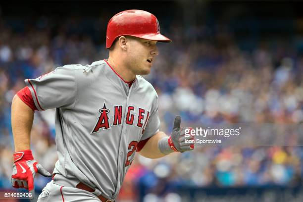 Los Angeles Angels of Anaheim Center fielder Mike Trout runs to first during the regular season MLB game between the Los Angeles Angels of Anaheim...