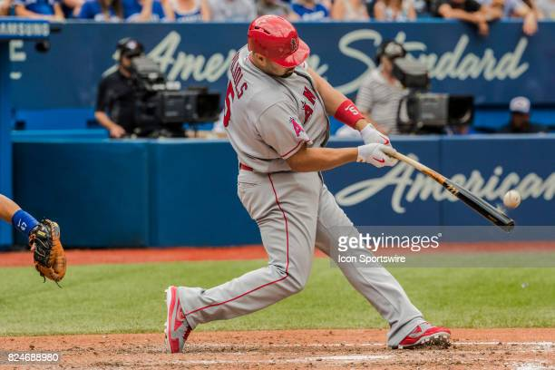 Los Angeles Angels of Anaheim Designated hitter Albert Pujols at bat during the regular season MLB game between the Los Angeles Angels of Anaheim and...