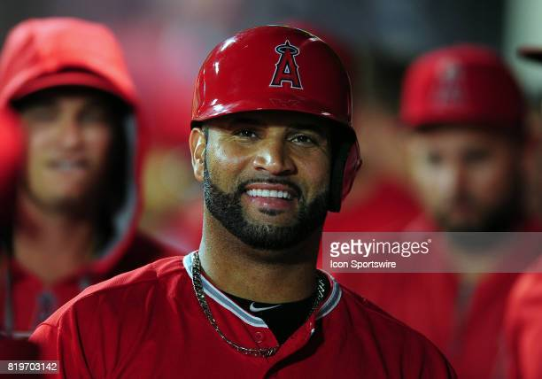 Los Angeles Angels of Anaheim designated hitter Albert Pujols in the dugout after scoring on a two run home run hit in the sixth inning by Angels CJ...