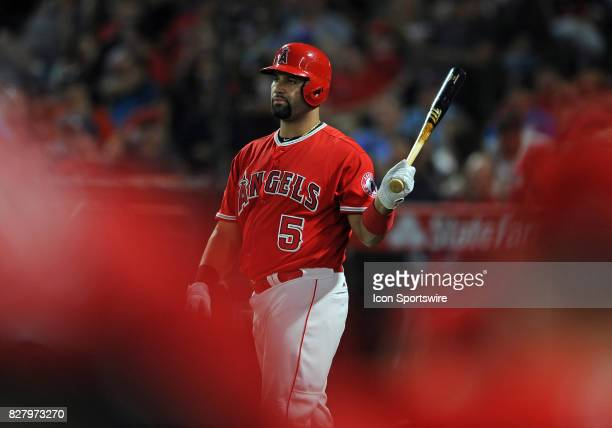 Los Angeles Angels of Anaheim designated hitter Albert Pujols on deck in the third inning of a game against the Baltimore Orioles on August 8 played...