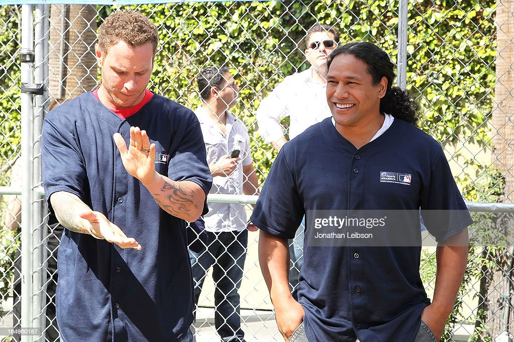 Los Angeles Angels of Anaheim Josh Hamilton and Pittsburgh Steelers <a gi-track='captionPersonalityLinkClicked' href=/galleries/search?phrase=Troy+Polamalu&family=editorial&specificpeople=206488 ng-click='$event.stopPropagation()'>Troy Polamalu</a> attend the Head & Shoulders 'Whiff-A-Thon' at The Grove on March 29, 2013 in Los Angeles, California.