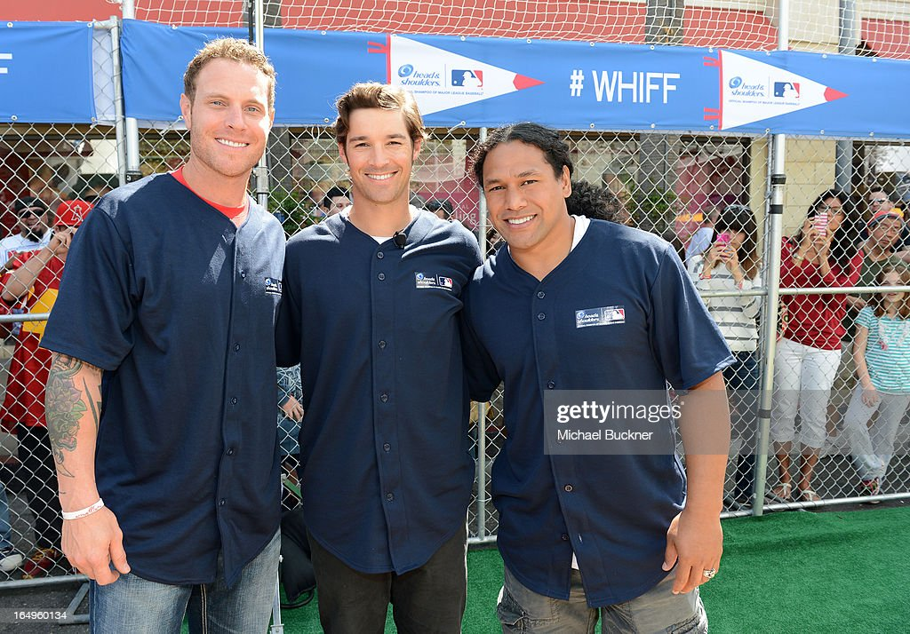 Los Angeles Angels of Anaheim Josh Hamilton, C.J. Wilson and <a gi-track='captionPersonalityLinkClicked' href=/galleries/search?phrase=Troy+Polamalu&family=editorial&specificpeople=206488 ng-click='$event.stopPropagation()'>Troy Polamalu</a> at Head and Shoulders first ever 'Whiff-A-Thon' event to launch the Season of the Whiff campaign. For every 'whiff' (strikeout) during the 2013 regular MLB season, Head & Shoulders will make a $1 donation to Reviving Baseball in Inner Cities, at The Grove on March 29, 2013 in Los Angeles, California.