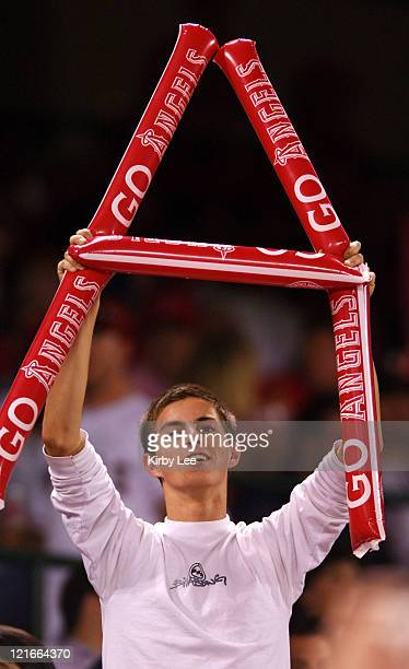 Los Angeles Angels of Anaheim male fan cheers during 53 victory over the New York Yankees at Angel Stadium in Anaheim Calif on Wednesday October 5...