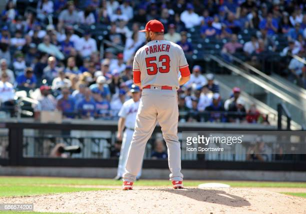 Los Angeles Angels of Anaheim Pitcher Blake Parker gets ready to throw a pitch during the game between the Anaheim Angels and the New York Mets on...