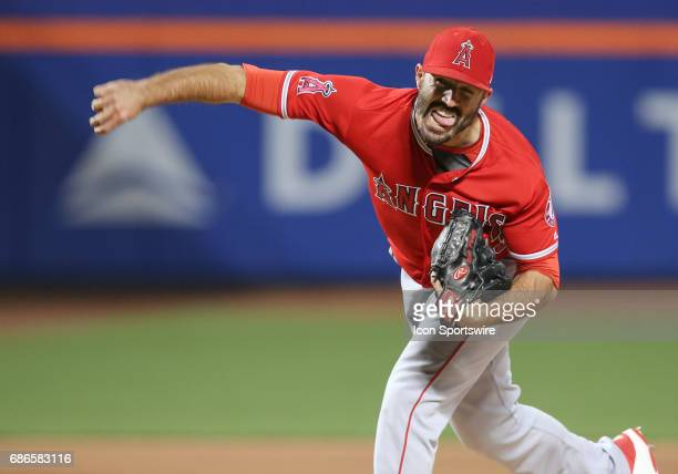 Los Angeles Angels of Anaheim Pitcher Blake Parker in action during the Interleague game between Los Angeles Angels of Anaheim and the New York Mets...