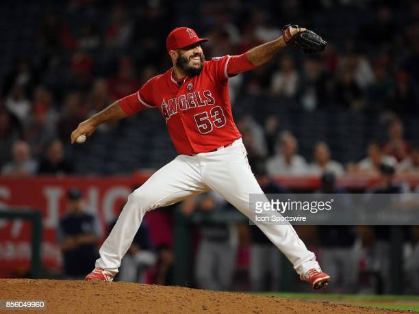 Los Angeles Angels of Anaheim pitcher Blake Parker in action during the ninth inning of a game against the Seattle Mariners on September 29 played at...