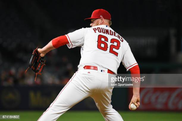 Los Angeles Angels of Anaheim Pitcher Brooks Pounders throws a pitch during an MLB game between the Oakland A's and the Los Angeles Angels of Anaheim...