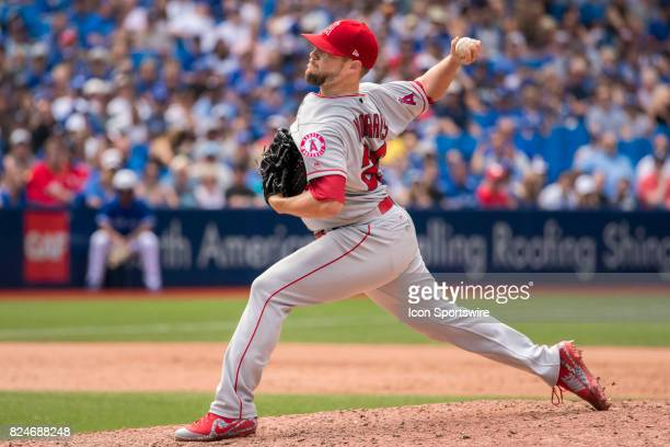Los Angeles Angels of Anaheim Pitcher Bud Norris pitches during the regular season MLB game between the Los Angeles Angels of Anaheim and the Toronto...