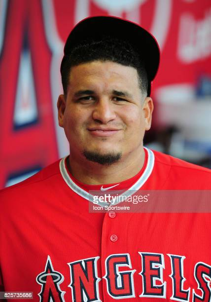 Los Angeles Angels of Anaheim pitcher Eduardo Paredes in the dugout before the start of a game against the Philadelphia Phillies on August 1 played...