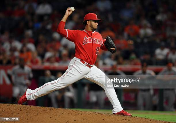 Los Angeles Angels of Anaheim pitcher Keynan Middleton in action in the ninth inning of a game against the Baltimore Orioles on August 8 played at...