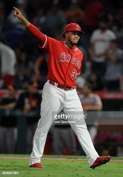 Los Angeles Angels of Anaheim pitcher Keynan Middleton reacts after getting his first major league save after the Angels defeated the Baltimore...