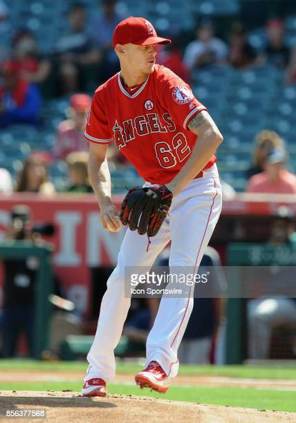 Los Angeles Angels of Anaheim pitcher Parker Bridwell in action during the first inning of a game against the Seattle Mariners on October 1 played at...