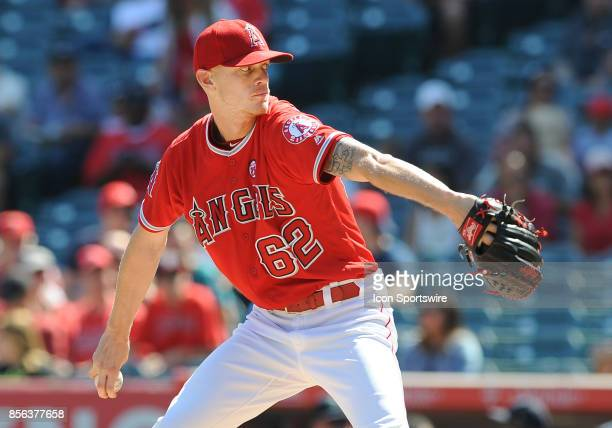 Los Angeles Angels of Anaheim pitcher Parker Bridwell in action during the third inning of a game against the Seattle Mariners on October 1 played at...