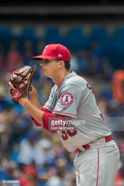 Los Angeles Angels of Anaheim Pitcher Troy Scribner makes his MLB debut during the regular season MLB game between the Los Angeles Angels of Anaheim...