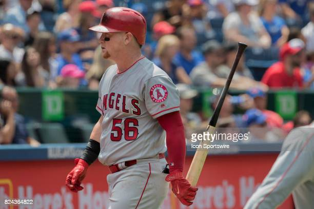 Los Angeles Angels of Anaheim Right fielder Kole Calhoun walks back to the dugout after striking out during the regular season MLB game between the...