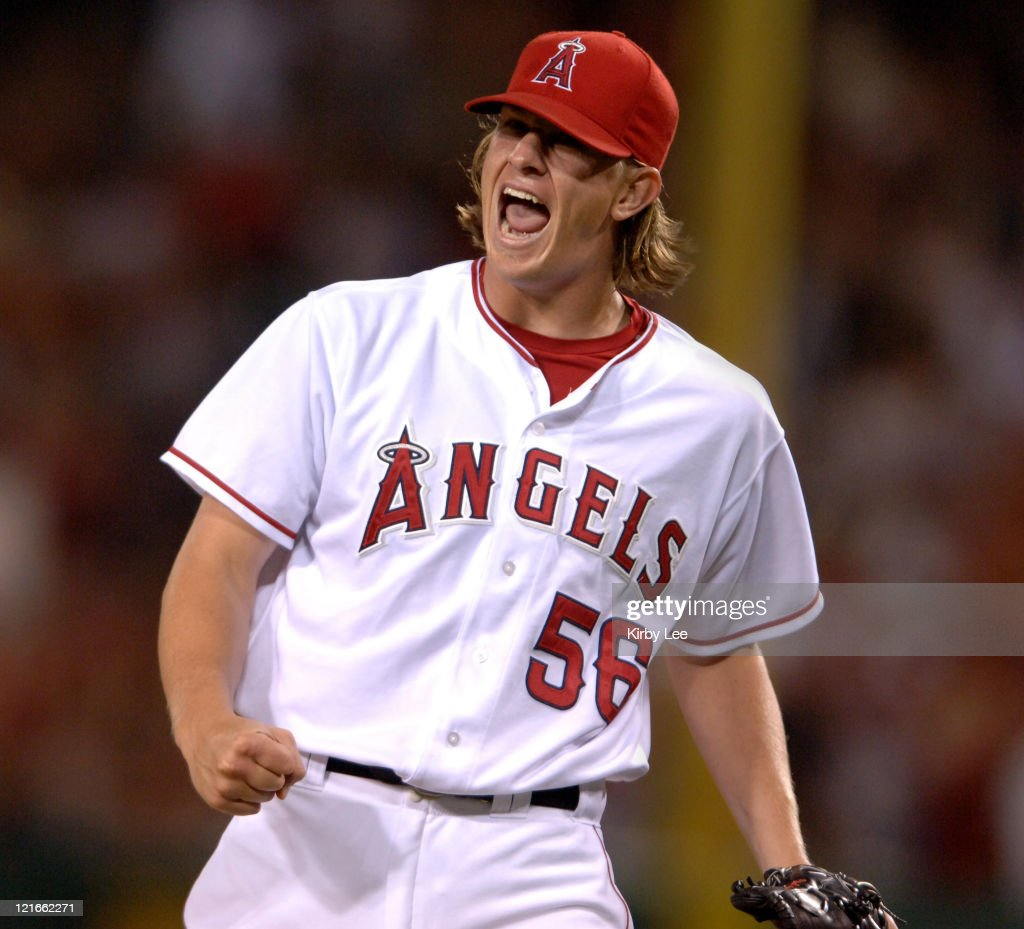 Los Angeles Angels of Anaheim rookie starter Jered Weaver celebrates a strikeout to end the seventh inning in 30 victory over the Seattle Mariners at...