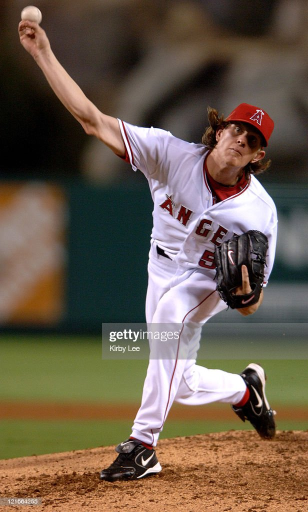 Los Angeles Angels of Anaheim rookie starter Jered Weaver pitches during 30 victory over the Seattle Mariners at Angel Stadium in Anaheim Calif on...