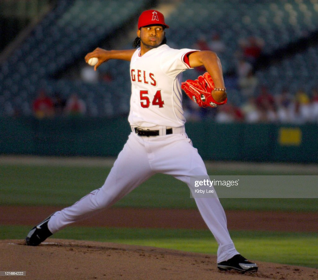 Los Angeles Angels of Anaheim starter Ervin Santana pitches during 43 victory over the Kansas City Royals at Angel Stadium in Anaheim Calif on Monday...