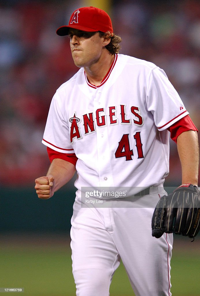 Los Angeles Angels of Anaheim starter John Lackey celebrates an inning-ending out during 4-3 loss in 10 innings to the Boston Red Sox at Angel Stadium in Anaheim, Calif. on Friday, August 19, 2005.