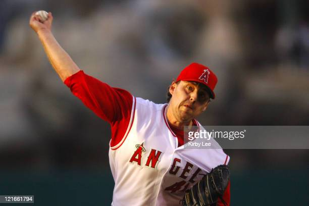 Los Angeles Angels of Anaheim starter John Lackey pitches during 63 loss to the Seattle Mariners at Angel Stadium in Anaheim Calif on Saturday July 9...